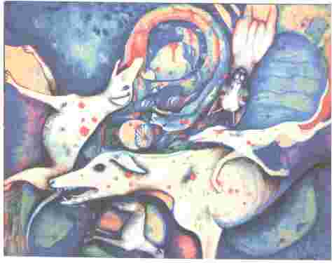 Ghost Dogs - Painting by Netty Shone